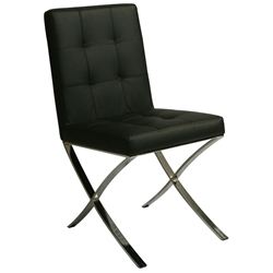 Amanda Modern Black + Chrome Dining Chair