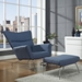 aviator chair and ottoman in blue