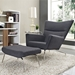 aviator chair and ottoman in dark gray