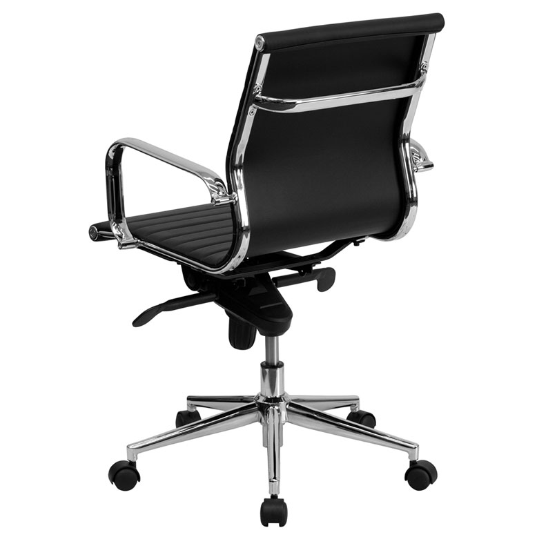 Channel Modern Mid Back Office Chair | Eurway Furniture Black Office Chair Back View