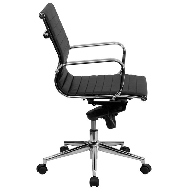 office chair side.  Office Channel Low Back Office Chair In Black  Side View On F