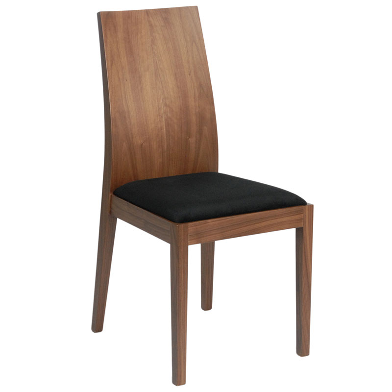 Denison modern walnut side chair eurway furniture for Walnut dining chairs modern