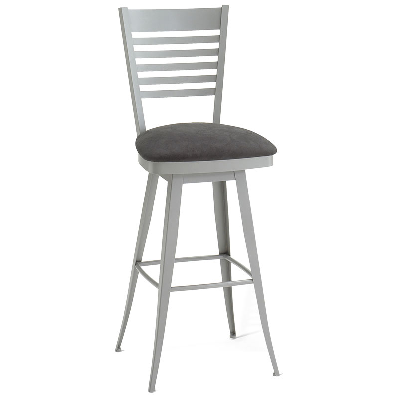 Edwin Swivel Bar Stool in Platina and Onyx by Amisco