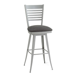 Edwin Swivel Counter Stool in Platina and Onyx by Amisco