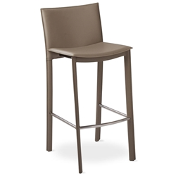 Ellis Modern Bar Stool in Gray Bonded Leather