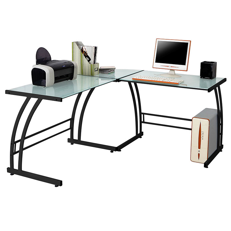 Gary Modern Desk with Black Glass