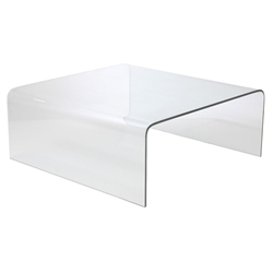 abbott solid glass square coffee table