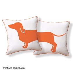 Happy Hot Dog Pillow Orange White