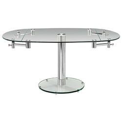 Modern Dining Tables - Marina Oval Glass Extension Table