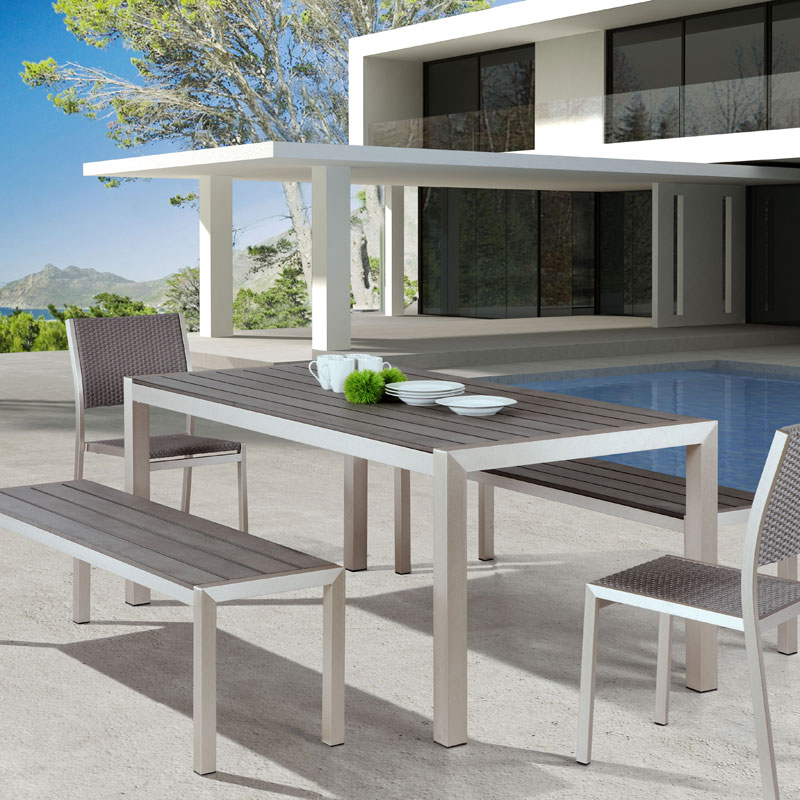 Contemporary Outdoor Dining Furniture: Melun Modern Outdoor Dining Bench