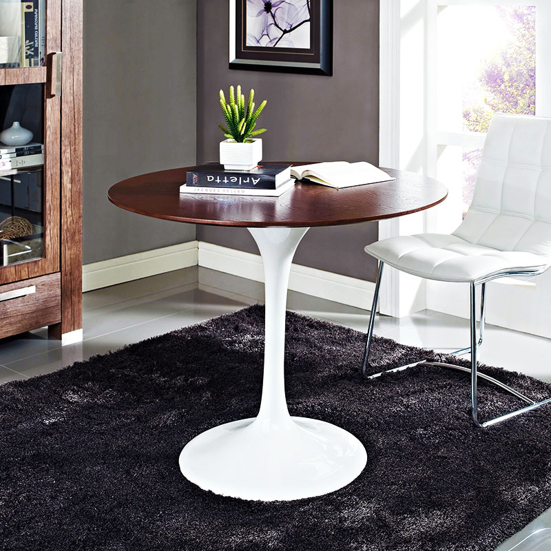 Odyssey Modern 36 Quot Round Walnut Dining Table Eurway