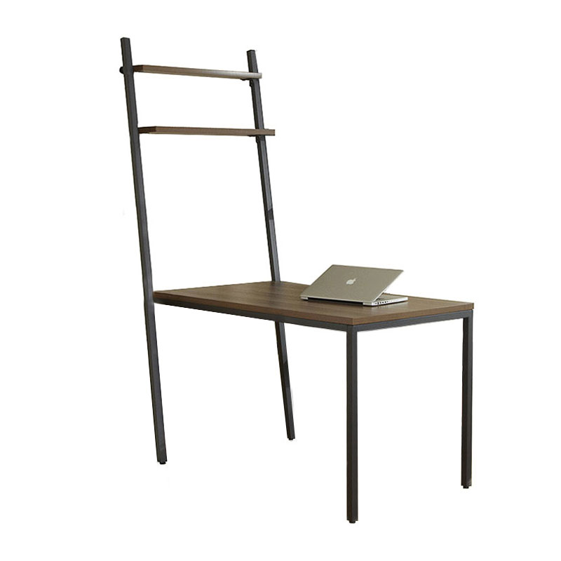 Paige Contemporary Desk with Shelves in Walnut