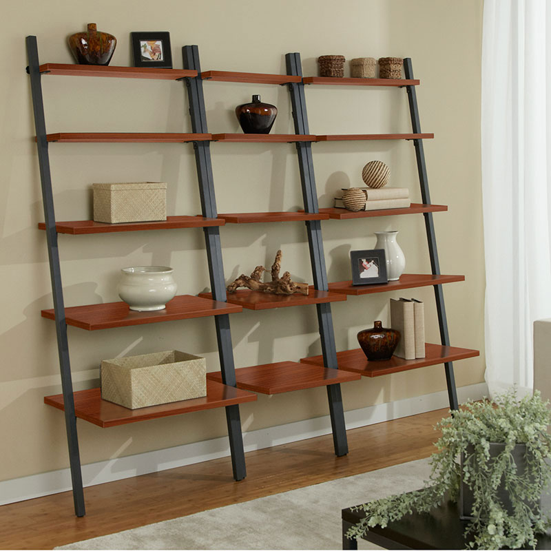Paige Narrow Leaning Bookcase + 2 Bookcases