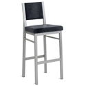 Payton Bar Stool - Platina Metal w/ Fleece Fabric by Amisco