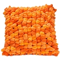 Pebble Chamois Modern Pillow in Tangerine