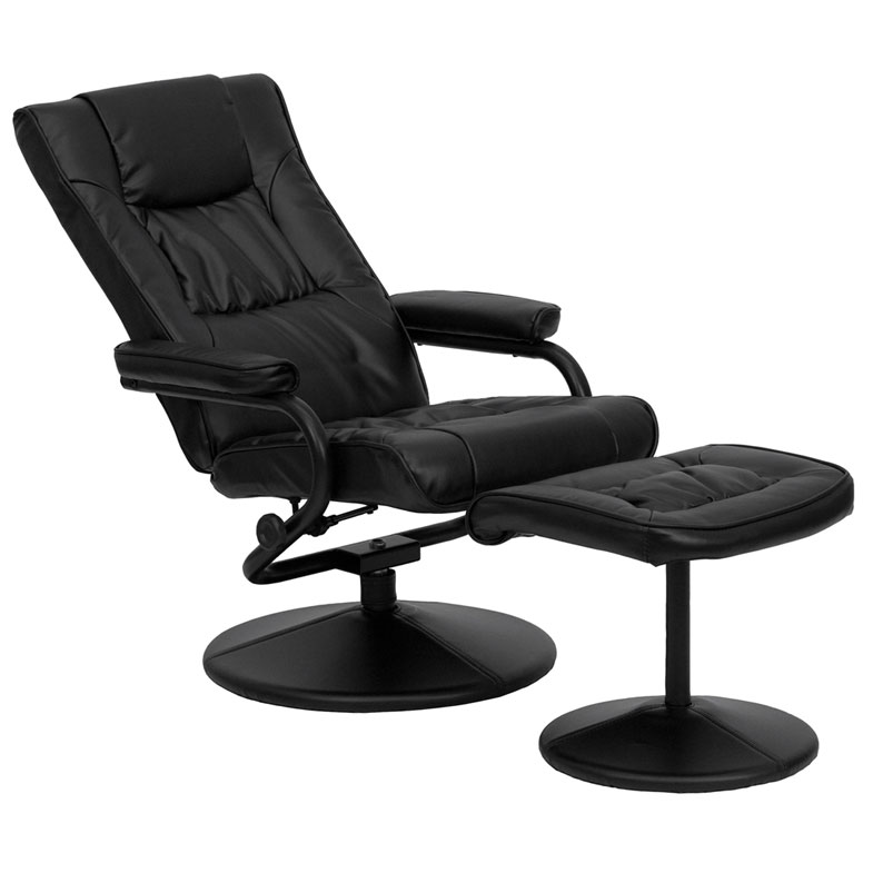 Philip Recliner and Ottoman Set in Black