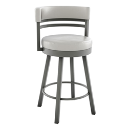 Ronny Bar Stool - Titanium and Eggshell by Amisco