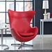 Scoop Leather Lounge Chair in Red