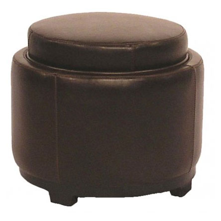 sheffield round storage ottoman in brown