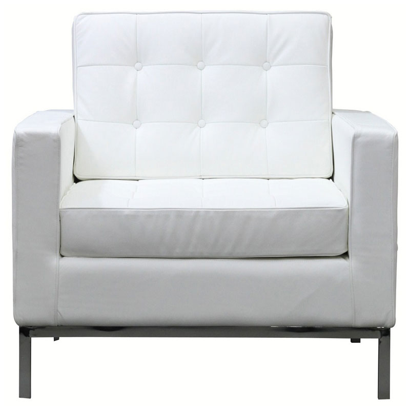 Studio White Leather Arm Chairs