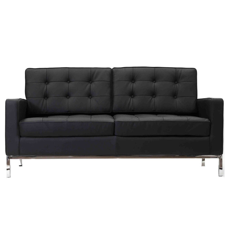 studio leather loveseat - black