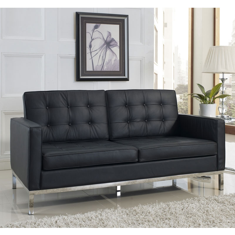 Studio Black Leather Loveseat - Room View