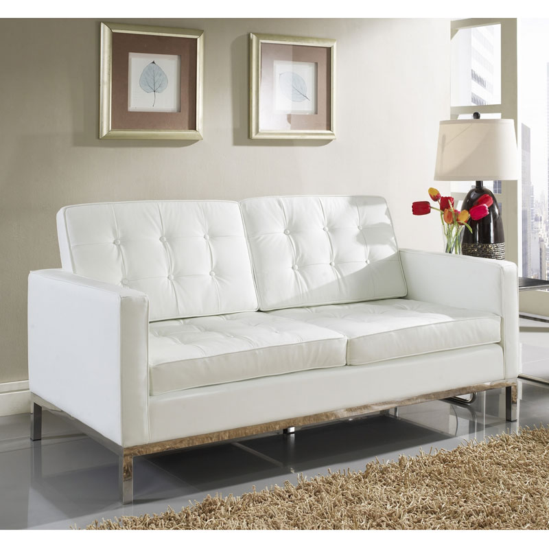 Studio White Leather Loveseat - Room View