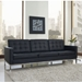 Studio Black Leather Sofa - Room View