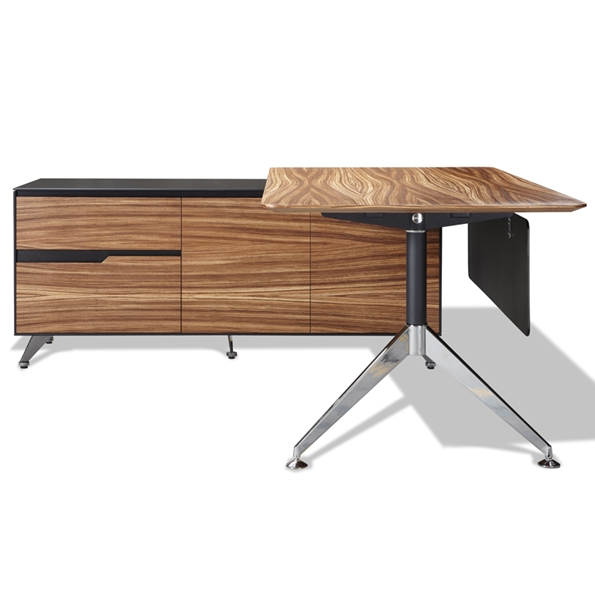 Gem Series 4018 With Zebrawood From: Trondheim 400 Collection Zebrano Desk + Left Credenza
