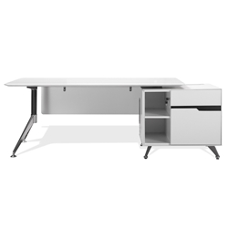 Trondheim White Desk + Right Cabinet