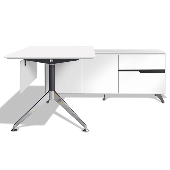 Trondheim 400 Collection White Desk + Right Credenza