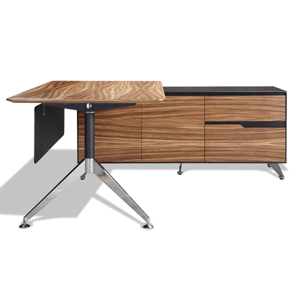 Trondheim Zebrano Executive Desk + Right Credenza