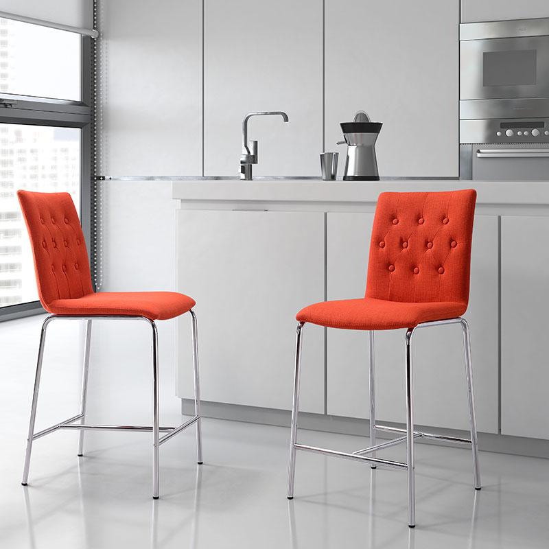 contemporary backless counter stools modern brown leather tangerine zuo darwen stool