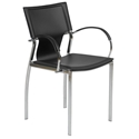 Vinnie Black + Chrome Arm Chair by Euro Style