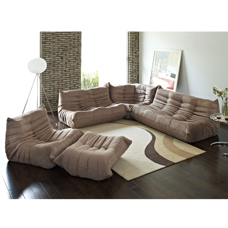Modern sofas wave 5 pc sectional ottoman eurway for Mancini modern sectional sofa and ottoman set