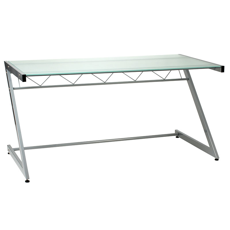 Ziegler Large Desk Aluminum / Frosted